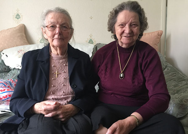 June with friend Pat Gregory, at Pat's house, 2017