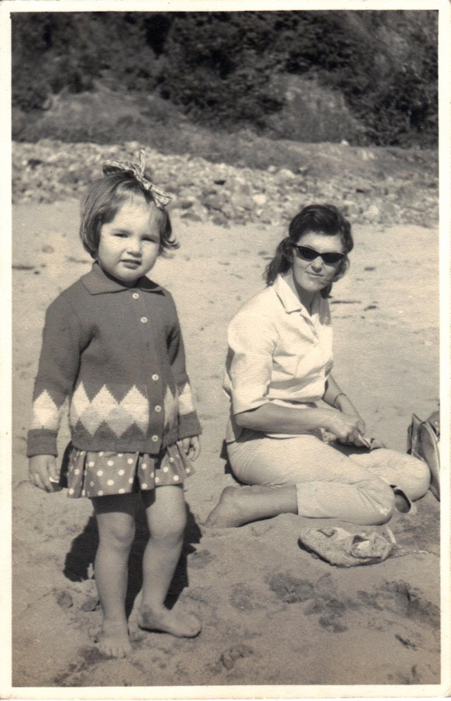 Julia Powell and mum, June Powell on the beach. Picture taken around 1965