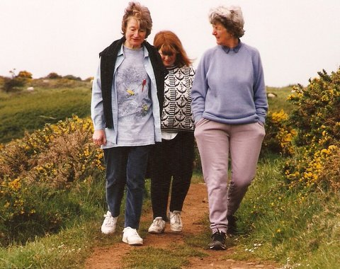 Jill, daughter Jenny and June on holiday in Lydstep, Pembrokeshire