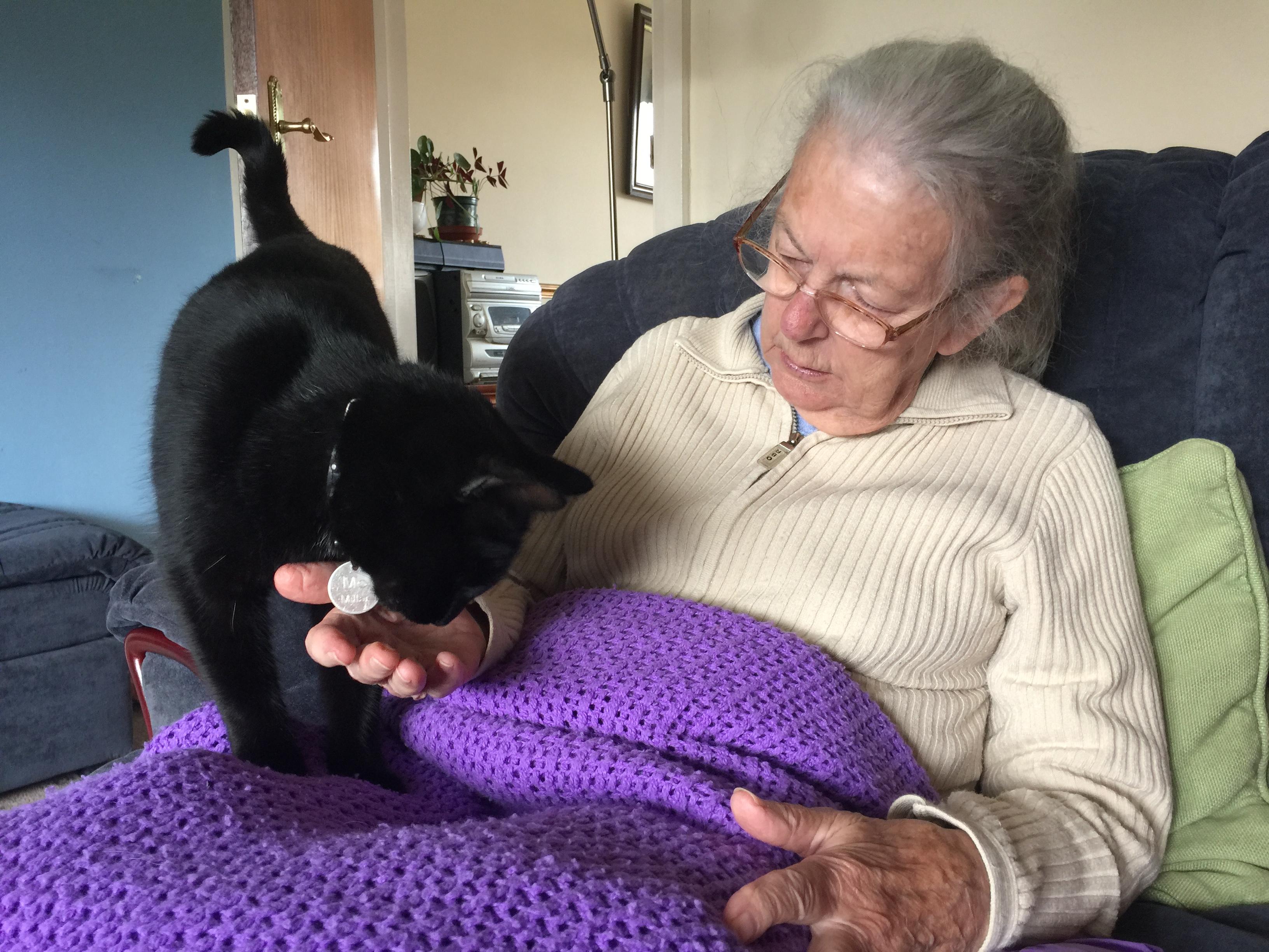 Mum with Mo the cat